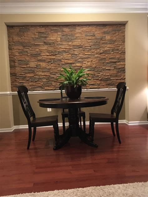 Dining Room Accent Wall, Stone Style  Creative Faux Panels. Home Room Designs. Round Dining Room Sets. How To Design A Dining Room. Painting Ideas For Kids Room. French Door Room Divider. Lazy Boy Design A Room. Kincaid Dining Room Sets. Design Ideas For Small Rooms