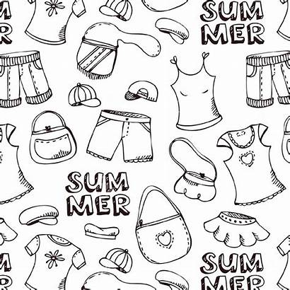Summer Clothes Beach Coloring Pages Pattern Illustration