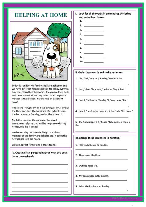 helping  home worksheet  esl printable worksheets