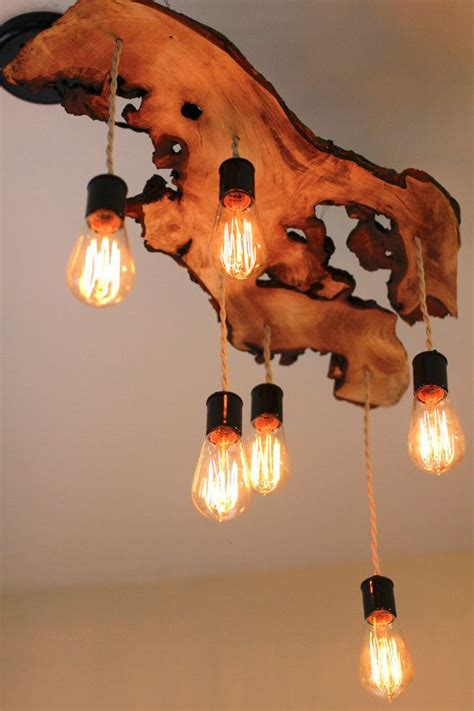 Extreme Liveedge Wood Slab Light Fixture With Hanging