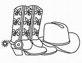 Cowboy Coloring Pages Printable Hat Boots Sheets Coloring2print sketch template