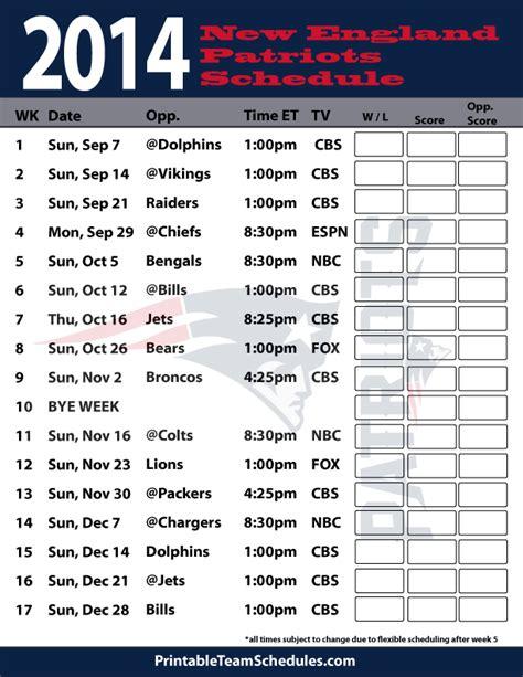 patriots schedule print  england patriots schedule