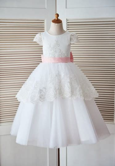 cap sleeves lace tulle satin wedding flower girl dress