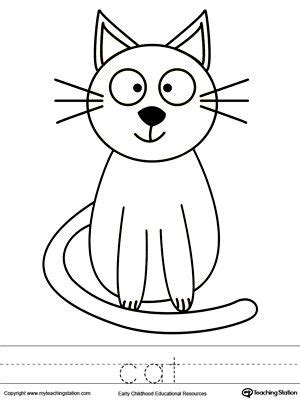 cat coloring page  word tracing cat coloring page