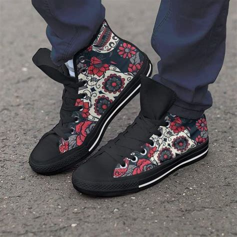 red white  black skull women high top shoes kaboodleworld