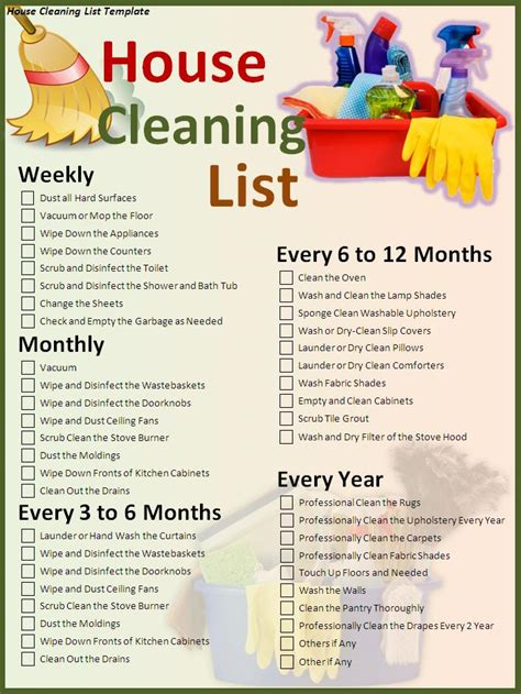 Domestic Cleaning Schedule Template by House Cleaning List Template Free Formats Excel Word