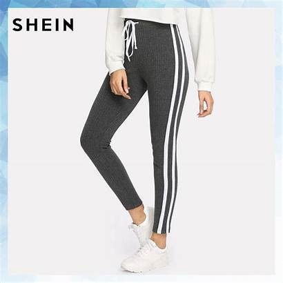 Pants Leggings Striped Grey Outfits Casual Workout