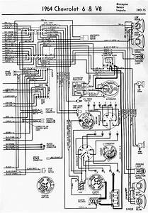 Wiring Diagram For 1964 Chevrolet 6 And V8 Biscayne Belair And Impala Part 2  60825