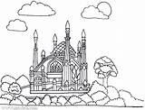 Coloring Mosque Masjid Mewarnai Islam Muslim Belajar Batam Yayasan sketch template