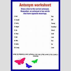 Synonyms For Kindergarten Worksheets Worksheet Mogenk Paper Works
