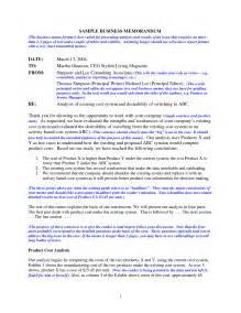 Business Memorandum Sample Memo