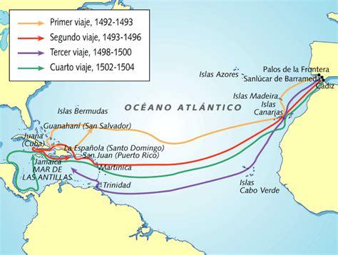 Rutas De Los Barcos De Cristobal Colon by Los Cuatro Viajes Del Almirante Crist 243 Bal Colon Espacio