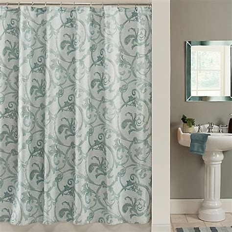 shower curtains at bed bath and beyond savona shower curtain in blue bed bath beyond