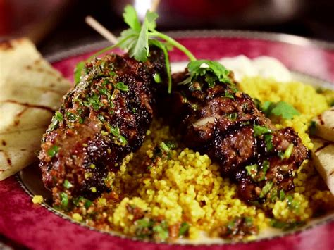 moroccan cuisine recipes moroccan beef kebabs with curried couscous raita and