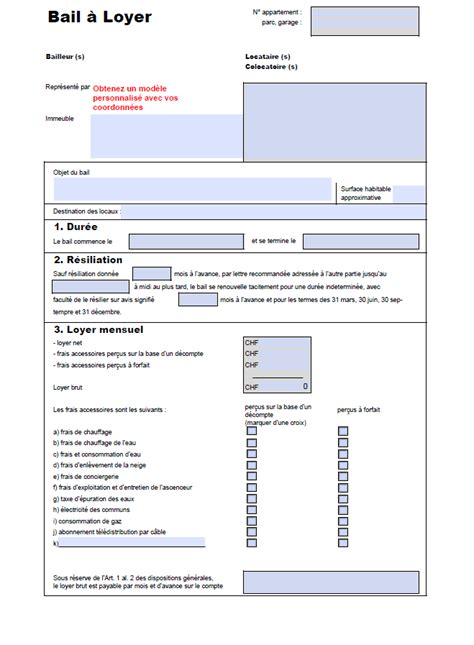 contrat location chambre modele bail de location document