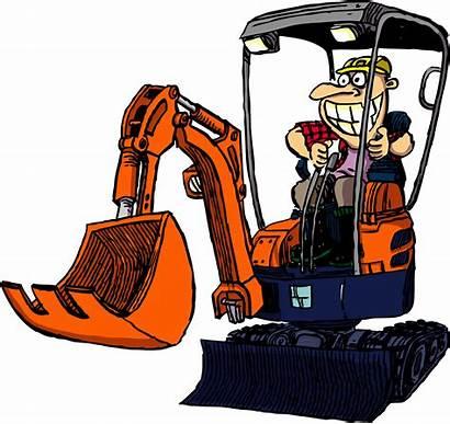 Clipart Digger Excavator Cartoon Mini Backhoe Transparent