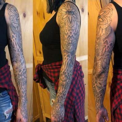 gray ornamental dot work full sleeve tattoo  crescent moon blurmark