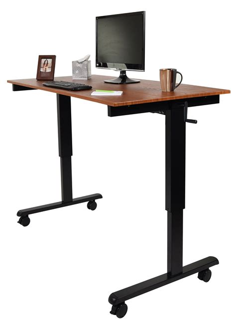 hand crank adjustable desk luxor 60 quot hand crank adjustable stand up desk notsitting com
