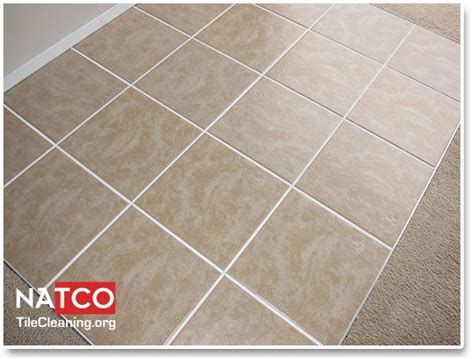 ceramic tile floor after cleaning the tiles and the grout