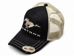 Ford Mustang Trucker Hat - Black and Tan BDFMEH156 - Free Shipping