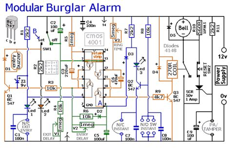 modular burglar alarm electronics forum circuits projects  microcontrollers