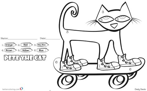 Pete Cat And His Four Groovy Buttons Coloring Page