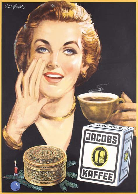 !930's art deco belgian source: 2 Original Vintage 1950s German Jacobs Coffee Posters