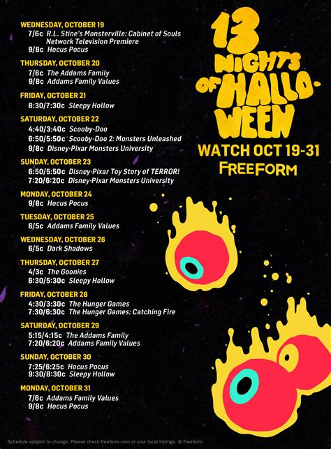 Abc Family 13 Nights Of Halloween Schedule by Clear Your Schedule The Quot 13 Nights Of Halloween Quot Lineup