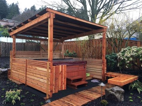 · fortunately, there are all kinds of ideas for hot tub enclosures. Hot tub enclosure with horizontal slats. | Modern hot tub | Pinterest | Tub enclosures, Hot tubs ...