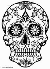Coloring Pages Skull Sugar Simple Skulls Printable sketch template