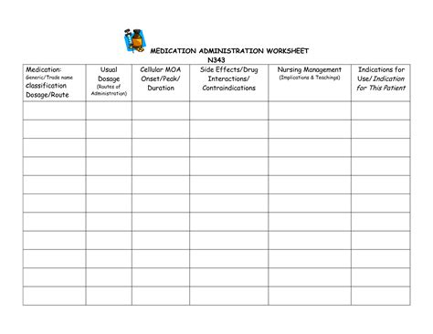 Medication Management Worksheets  Kidz Activities