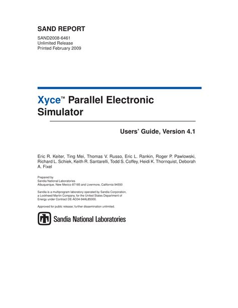 Pdf Xyce Parallel Electronic Simulator Users Guide