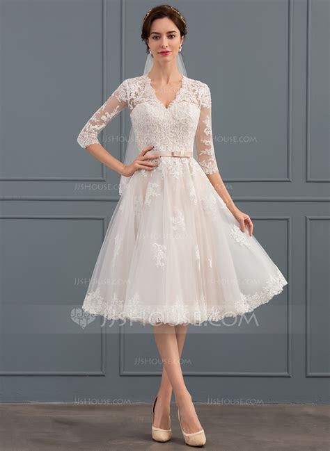 lineprincess  neck knee length tulle wedding dress