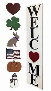 Interchangeable, O, Welcome, Sign, Large, Vertical, Porch, Sign, Front, Door, Seasonal, Holiday