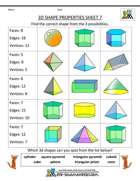 printable geometry worksheets  grade