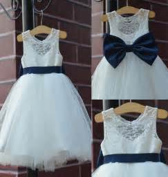 country wedding flower dresses 2015 rustic ivory lace navy blue sash bow flower dress white country toddler wedding