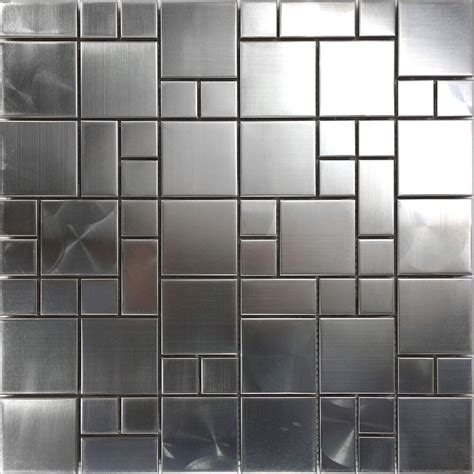 1sf Matte Industrial Stainless Steel Pattern Mosaic Tile