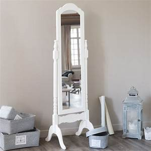 miroir psyche en bois de paulownia blanc h 169 cm celeste With psyche maison du monde
