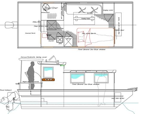 Scow Houseboat Plans by Stitch And Glue Pontoon Plans