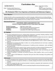 1 Year Experience As Production And Mainteinance Engineer