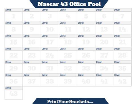 nascar  office pool printable version