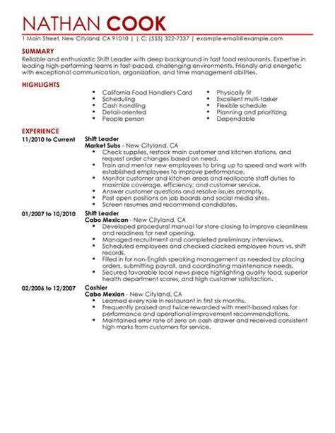 Resume For Fast Food Shift Manager by Shift Leader Resume Exle Restaurant Bar Sle Resumes Livecareer
