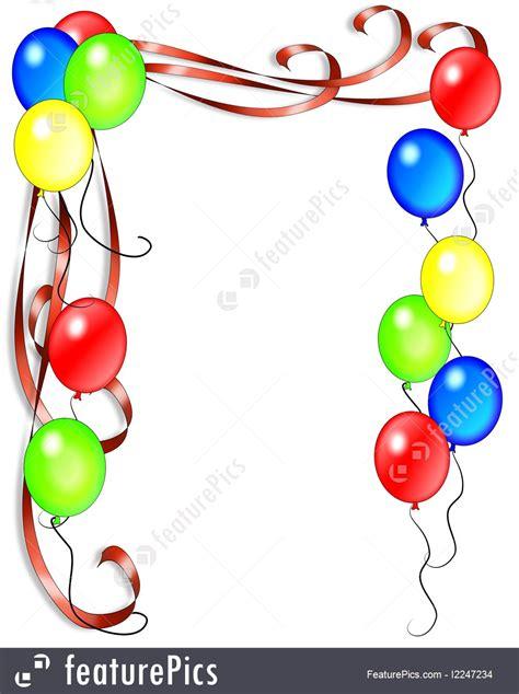 celebration birthday invitation balloons border stock
