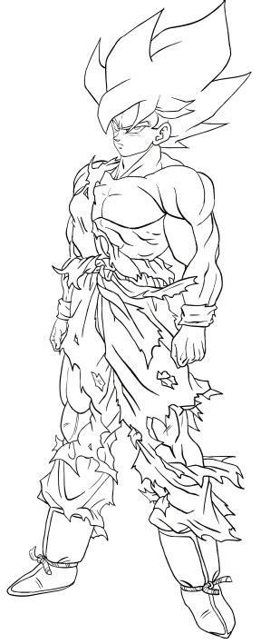 disegno  goku super saiyan  secondo livello da colorare