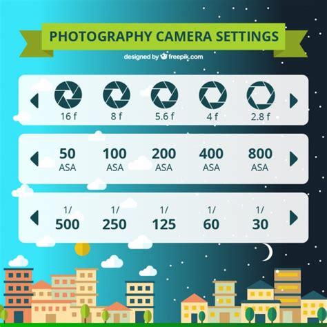 photography camera settings vector