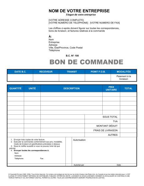 modèle lettre de commande fournitures bon de commande template sle form biztree