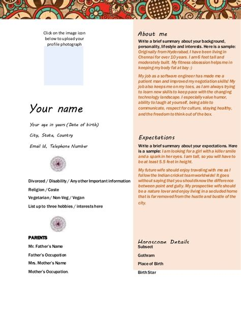 marriage biodata format for