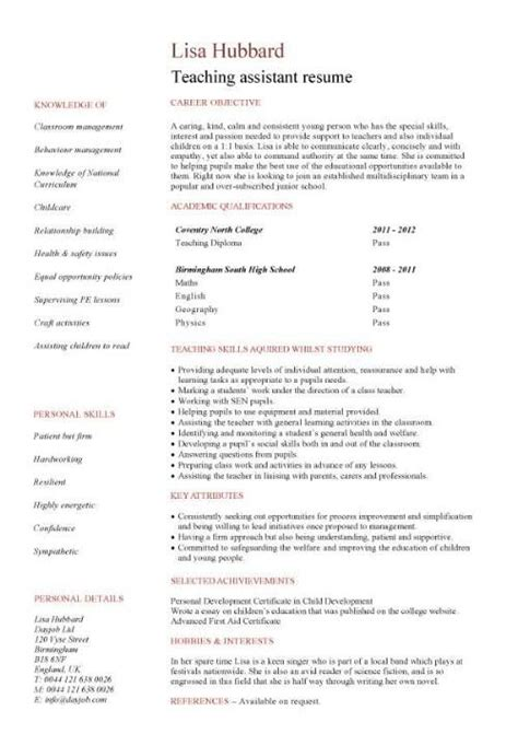 Teaching Assistant Resume by No Work Experience Teaching Assistant Resume
