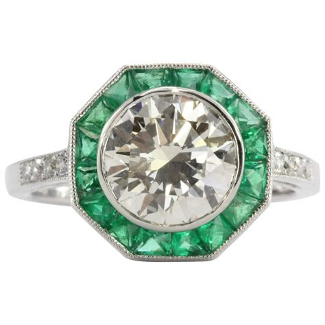 engagement rings deco style deco style 2 1 carat emerald platinum d engagement ring for sale at 1stdibs