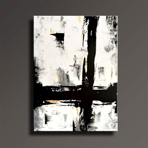 Abstract On Black Canvas by 54 Large Original Abstract Painting Black White Gray